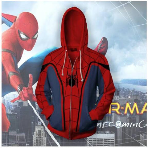 Spider-Man Man Zip Up Hoodie Sweatshirts Long Sleeve Zipper Men  Masked Spiderman SpiderHoodie Cosplay Sweatshirt Jacket