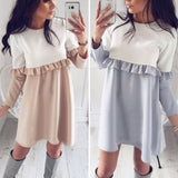 Spring 2018 Women Long-Sleeve Ruffles Bow Sexy Casual Party Mini Dress A-Line Vintage Des Festa Casual Mini Vestidos - thefashionique