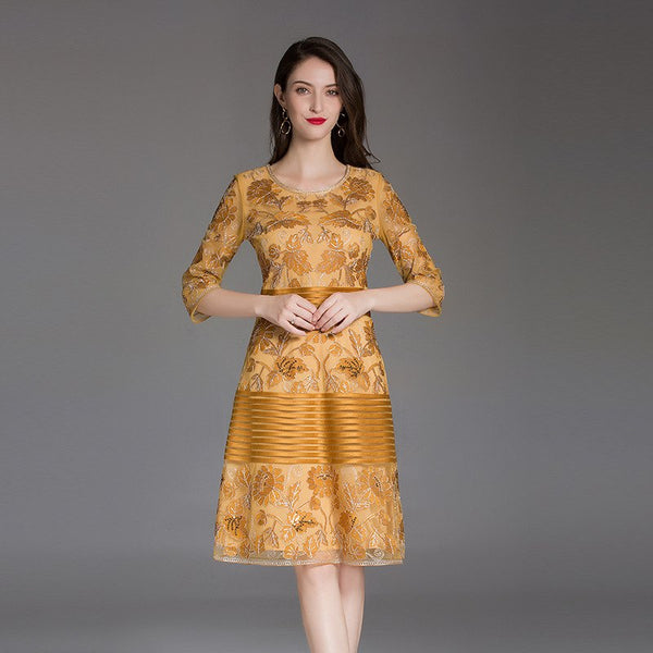 Spring 2019 new Embroidery office work dress summer Women Clothing Vintage Party Dress Plus Size banquet flower dresses A Line - thefashionique