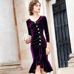Spring 2019 new Luxury Design Retro office lady Party Dress 3xl Women Asymmetric dress Plus Size sexy Package hip velvet dresses