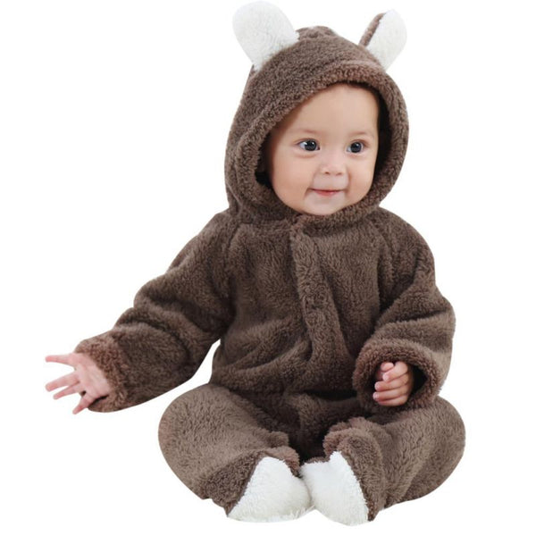 Spring Autumn Baby Clothes Flannel Baby Boy Clothes Cartoon Animal 3D Bear Ear Romper Jumpsuit Warm Newborn Infant Romper - thefashionique
