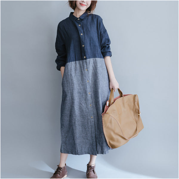 Spring Autumn Long Shirt Dress Women Long Sleeve Cotton Linen Dresses Female Patchwork Loose Blouse Vestidos Robe Oversized A739 - thefashionique