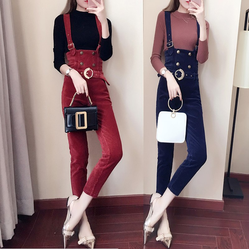Spring High waist Jumpsuits Women Slim-type Corduroy Overalls Female New Mori girl pocket Solid color Pants Cute Casual Jumpsuit - thefashionique