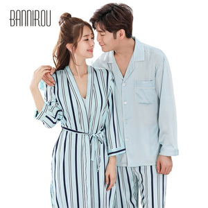 Spring Matching Couple Pajama Set Striped Chiffon Slik Satin Simple Full Button His-and-her Home Suit Pyjama For Lover Man Woman - thefashionique