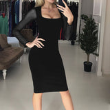 Spring Sheath Women Sexy Dress Autumn Mesh Stitching Dot Sleeve Party Office Lady Dress Square Collar Plus Size Femme Robe M0458 - thefashionique