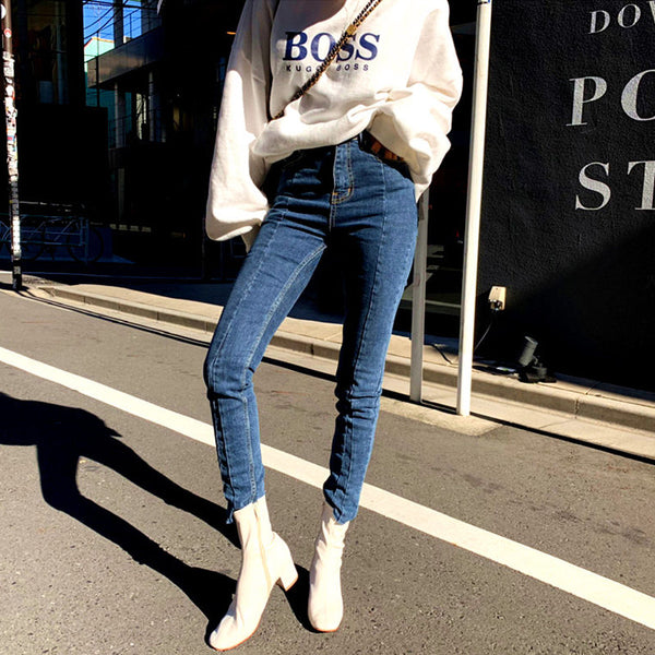 Spring Summer Irregular Stretch Patchwork Denim Jeans Women Skinny Tassel High Waist Pants Capris Female Pencil Jeans 2019 - thefashionique