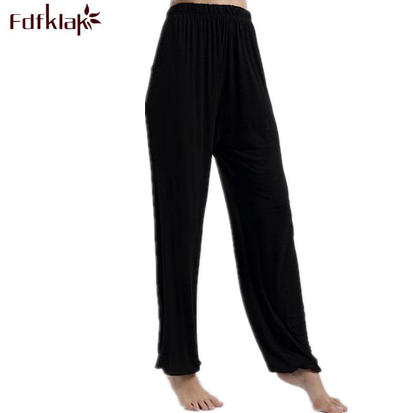 Spring Summer Women's Trousers For Home Pajama Bottoms Cotton Sleep Pants Women Pajama Trousers Black Plus Size XL-XXXL Q207 - thefashionique