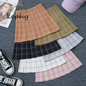 Spring and summer 2020 new Korean  Plaid pleated skirt high waist short skirt student skirt A-line skirt