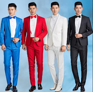 Spring mens groom wedding dress men suit set costume homme male suits terno masculino singer stage red white black blue grey - thefashionique