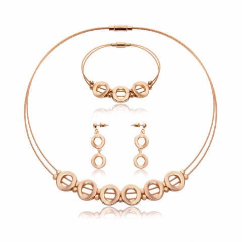 Stainless Steel Jewelry Sets Gold Color Statement Necklace Earrings Bracelet For Women Wedding Bridal Jewelry Sets & More - thefashionique