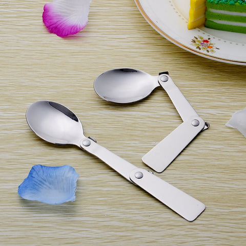 Stainless Steel Outdoor Dining Convenient Tableware Accessories Durable Sliver Folding Spoon Easy Carry Coffee Tea Spoons S#10 - thefashionique