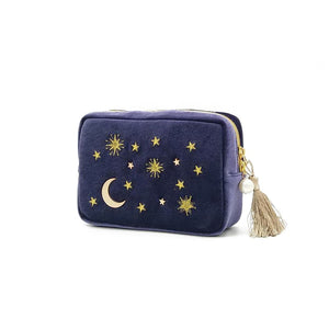 Star Moon Embroidery Jewelry Bag Travel Portable Mini Square Jewelry Box Ring Nail Earring Necklace Storage Bag - thefashionique