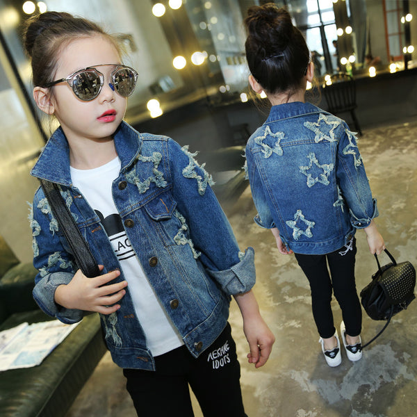 Star patch Teenage Girls Denim Jacket Kids Girls Outerwear Coat 2018 New Spring Fall Casual Fashion Top Girl Outfit Long Sleeves - thefashionique
