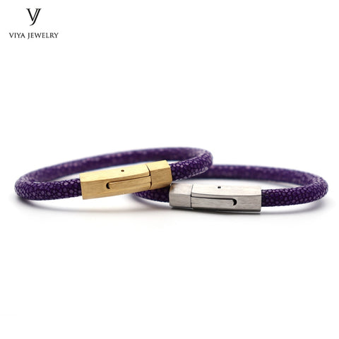 Stingray Spring Clasp Bracelet  Simple Snap Hook Brilliant Purple Stingray Leather Cord Bracelets For Couple Best Lovers Gift - thefashionique