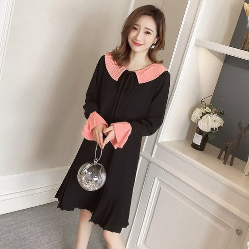 Stinlicher 2019 New Spring Winter Round Neck Long Flare Sleeve Black Loose Pleated Dress Women Fashion Tide Midi Dress Plus Size - thefashionique