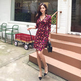 Stinlicher 2019 new spring summer women dress sexy V-neck leaves print bodycon party dress lady fashion slim bandage Midi dress - thefashionique