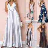 Strapless Spaghetti Strap Woman Jumpsuit Romper 2018 Elegant Striped V Neck Bodysuit Women Loose Summer Women Overalls - thefashionique