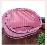 Straw Rattan Pet Cat Dog Kennel Wicker Blanket Puppy Dog Large Home Sofa Four Seasons Durable Washable Waterproof Dog House Bed