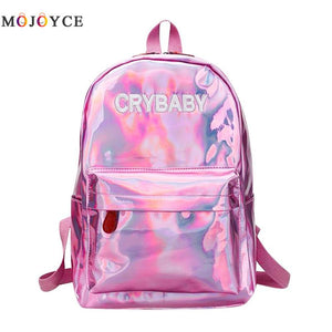 Street Hip Pop Holographic Women Backpack Letters Laser Hologram PU Leather Girls Shoulder School Rucksack Mochila Feminina - thefashionique