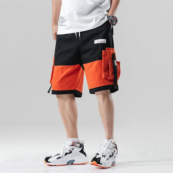 Streetwear Summer Casual Shorts Men Fashion Ribbons Pockets Cargo Shorts Bermuda Knee Length Patchwork Men's Shorts - thefashionique