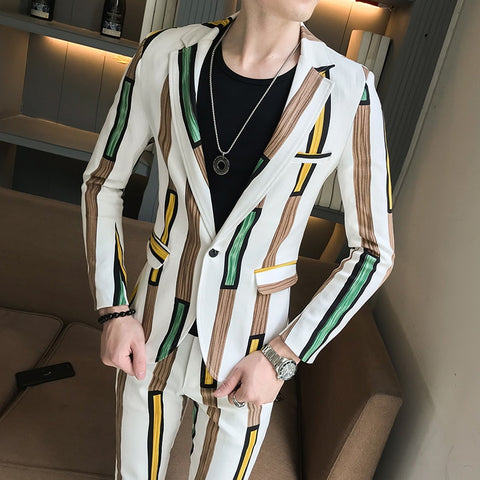 Stripe Mens Party Suits Floral Mens Stage Clothing Fashion Mens Slim Fit Suits with Pant Prom Skinny Suits Fashion Costume Homme