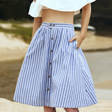 Striped A-Line Blue Single-Breasted Skirt Women 2018 Spring Summer Casual High Waist Knee-Length Skirts Cute Ladies Skirt Femme - thefashionique