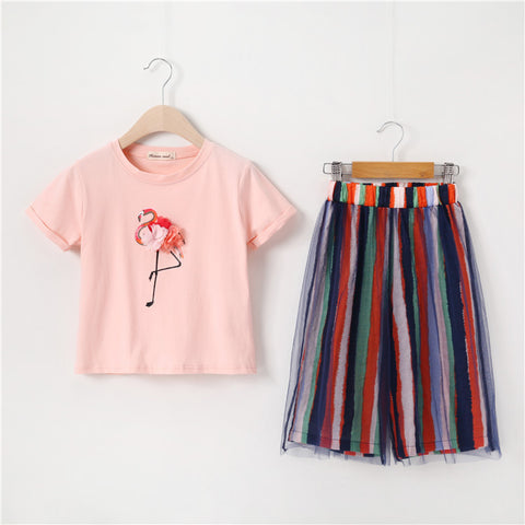Striped Wide leg Pants Teenage girls clothing 2019 New Summer Clothes Cotton Printed Short-sleeve Tops two pieces sets 8 10 12 - thefashionique