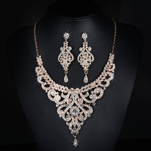 Stunning New Arrival Rose Gold Austrian Crystal Rhinestones Alloy Wedding Jewelry Set Bridal Necklace Earring Set Bridesmaids - thefashionique