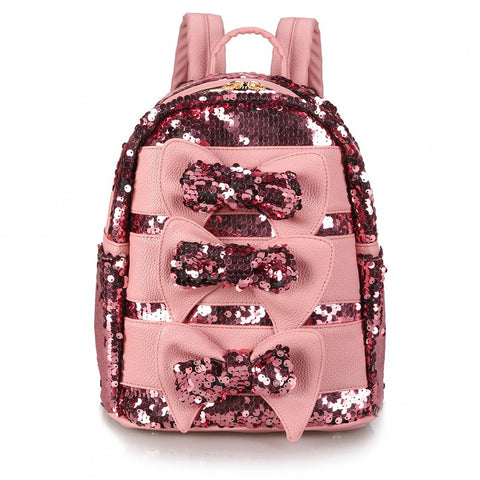 Stylish Backpack with Sequins Women Shoulder Bag Glitter Sequin Backpacks for Teenage Girls Bow Travel Bag Pack Black White Pink - thefashionique