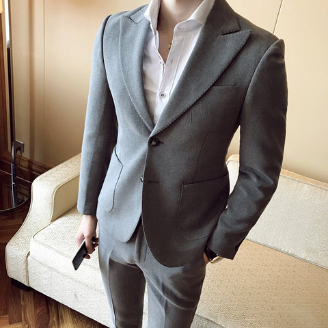 Stylish Mens Suits 2018 Slim Fit Suits For Mens Classic Suits Blazers With Pants Grey Jaqueta Masculino Korean Clothing Black