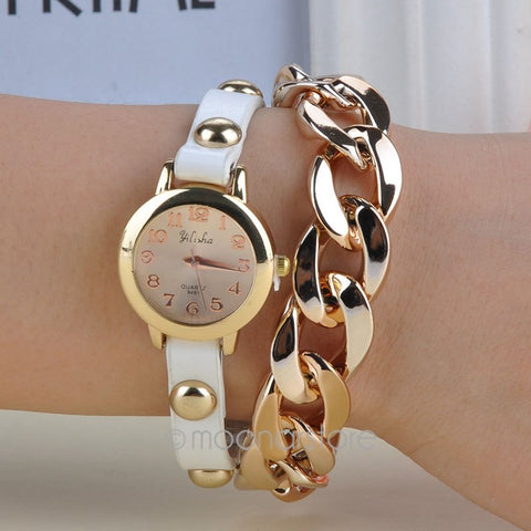 Stylish Women's Wrist Watch Rivet & Chain Style Bracelet Quartz Wrist Watch with Synthetic Leather Strap