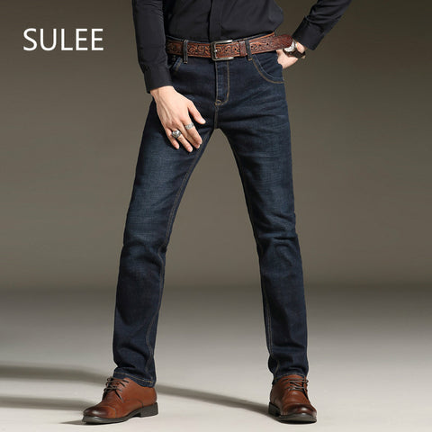 Sulee Brand 2017 Men's Stretch Jeans Fashion Simple Casual Business Pant Slim Fit Straight Leg Medium Washed Denim