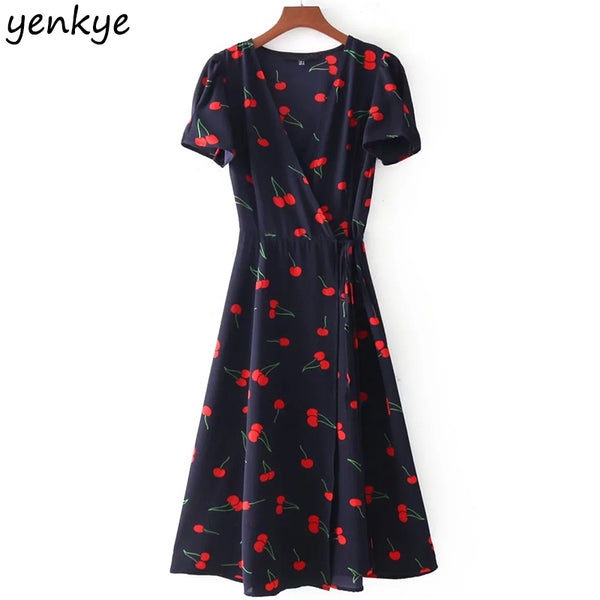 Summer 2018 Sweet Women Floral Printed A-line Dress Short Sleeve Cross V Neck Tie Waist Wrap Dresses Midi vestido DDOM7135 - thefashionique