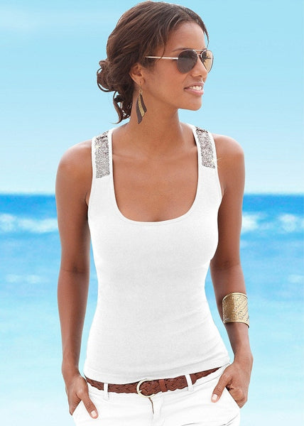 Summer 2019 Sexy Camisole Low-cut Basic T-shirt Tank Top Solid Color Sleeveless Spliced Slim Ladies Thin Women's Vest Beach Tops - thefashionique