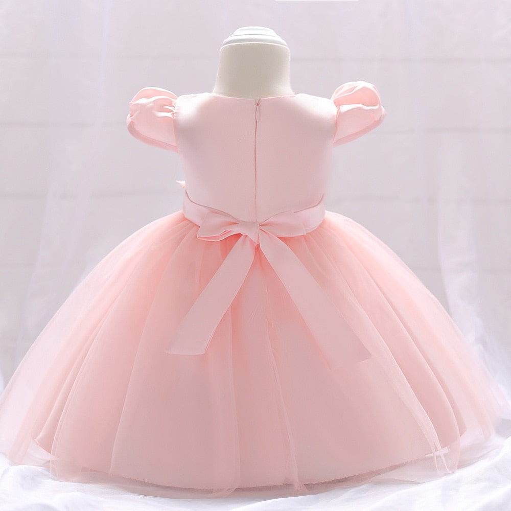 Summer Baby Girl Dress for Wedding Party Pink Cute Girls Dresses Infant Kids Clothes Sweet Little Baby 1 Year Birthday Dress - thefashionique