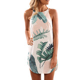 Summer Beach Dress Sleeveless 2018 European Style Floral Printed Mini Dresses Female 2017 Spaghetti Women Dress Womens Clothing - thefashionique