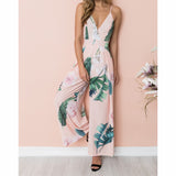 Summer Beach Spaghetti Strap Plus Size Overalls Femme Boho Floral Printed Jumpsuits Women Wide Leg Pants Striped Rompers GV395 - thefashionique