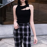 Summer Black White Women'S Sexy Tops Knitted Stretch Vest Circular Metal Rings Hollow Slim Sleeveless Female Camisole Party Club - thefashionique