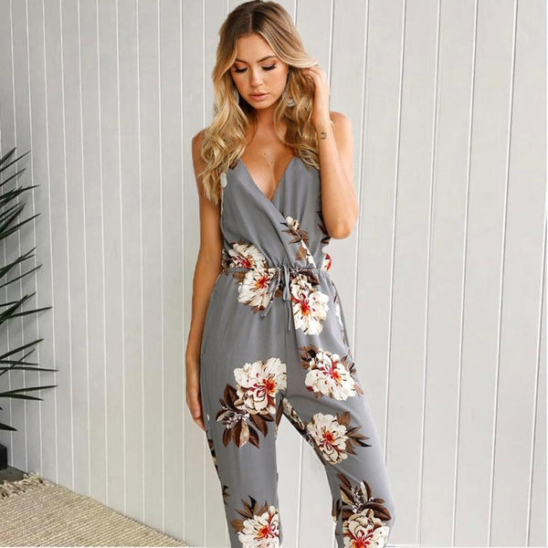 Summer Bohemian Floral Jumpsuits Women's Sexy Strapless Backless Casual Long Jumpsuit Ladies Elegant Romper Playsuit Trouser #Z - thefashionique
