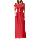 Summer Casual Long Dresses For Women Short Sleeve Pocket Floor Length Maxi Dress Women O Neck Solid Dress Female Vestidos - thefashionique