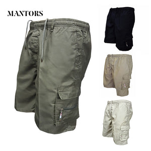 Summer Casual Men Shorts 2018 New Solid Cargo Shorts Male Knee Length Military Shorts Slim Elastic Straight Men's Bermuda Shorts - thefashionique