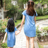 Summer Casual Mom Daughter Dress Family Matching Outfit Mother Daughter Dresses Jeans Girl Denim Dress Mother & Kids Clothes - thefashionique