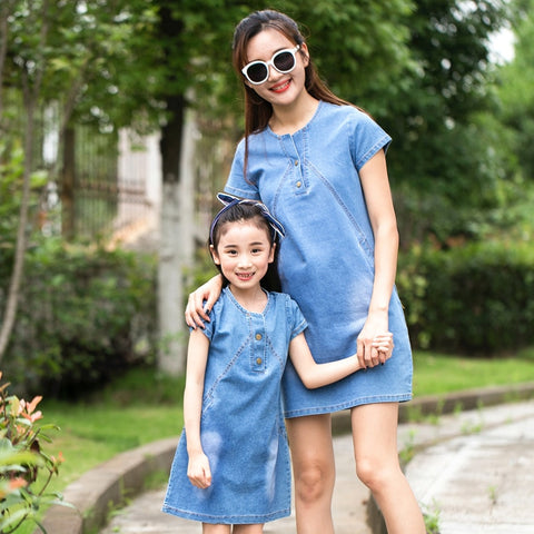 754f3305a92 Summer Casual Mom Daughter Dress Family Matching Outfit Mother Daughter  Dresses Jeans Girl Denim Dress Mother