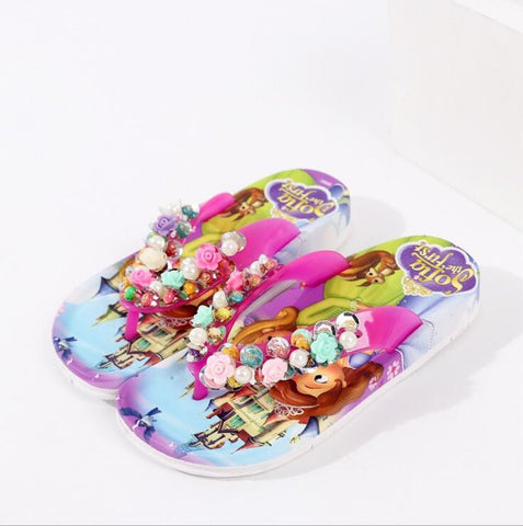 Summer Children girls Sofia with flower princess PVC beach Slippers Non-slip flip flop 888 2colors XQ01 - thefashionique