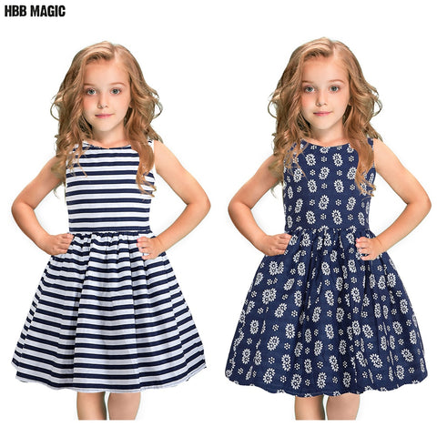 Summer Cotton Girls Dress Sleeveless Double Sided Inside Out Wear Vintage Girl Dresses Kids Casual Floral Striped Party Dress