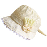 Summer Cute Princess Baby Hat With Bow Solid Color Lace Hollow Baby Girl Cap Toddler Kids Beach Bucket Hats - thefashionique
