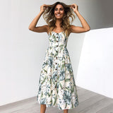 Summer Dress Women 2018 Strap Floral Print Dot Long Beach Vestidos Female Sundress Sexy Casual Loose Elegant Ladies Dresses - thefashionique