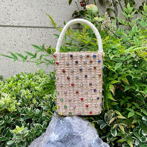 Summer Fashion Beach Vacation Pearl Grass Bag Shiny Diamond Handmade Custom Straw Bag Handbag