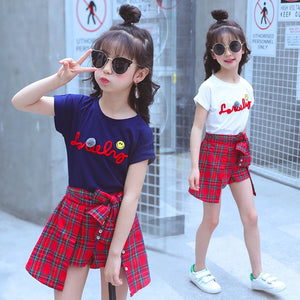 Summer Girls Clothing Set Child Clothes Summer Girls Boutique Outfits T-shirt + Plaid Skirt 2 to 15 Years