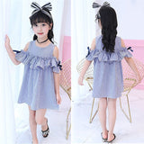 Summer Girls Dress Blue Stripe Off-Shoulder Ruffles Dresses +Headband  Korean Style Princess Dress For Girls For 2 3 4 6 8 Years - thefashionique